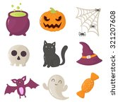 set of halloween icons. vector... | Shutterstock .eps vector #321207608