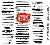 Illustrator grunge black lined and scuffed brush styles set with bright color text isolated vector illustration