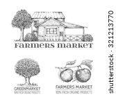 set of vintage retro farm logo. ... | Shutterstock .eps vector #321213770