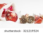 christmas ball with red bow and ... | Shutterstock . vector #321219524