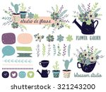 Stock vector vector set with vintage flowers vector illustration succulents cactus compositions shapes 321243200