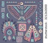 vintage tribal native american... | Shutterstock .eps vector #321263000