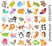 Stock vector vector illustration of cute animals and birds y oon hedgehog whale panda lion deer x ray fish 321263474