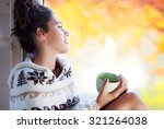 young beautiful brunette... | Shutterstock . vector #321264038