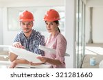 a female architect and a... | Shutterstock . vector #321281660