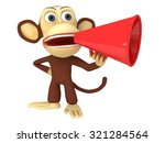 3d funny monkey with huge red... | Shutterstock . vector #321284564