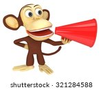 3d funny monkey with huge red... | Shutterstock . vector #321284588