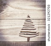 christmas tree made of wooden... | Shutterstock . vector #321292703