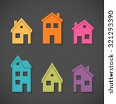 set of colorful houses icons.... | Shutterstock .eps vector #321293390