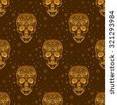 gold ornamental sugar skull... | Shutterstock .eps vector #321293984