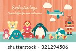 cute vintage toys on the floor... | Shutterstock .eps vector #321294506