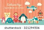 cute vintage toys on the floor... | Shutterstock .eps vector #321294506