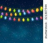 christmas lights on night sky... | Shutterstock .eps vector #321307544