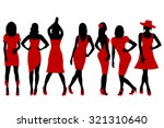 collection of women silhouettes ... | Shutterstock . vector #321310640