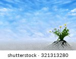 Small photo of Life Persists. Inspirational and conceptual image for hope, winning, never give up, struggle, persistence, motivation etc. Copy space for presentation text.