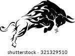 bull flame trail tattoo | Shutterstock .eps vector #321329510