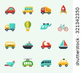 transport icons in cartoon... | Shutterstock .eps vector #321342350