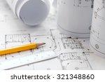 architectural plans  pencils...   Shutterstock . vector #321348860