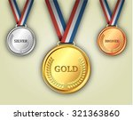 set of gold  silver and bronze... | Shutterstock .eps vector #321363860