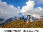 a group of tourists with large... | Shutterstock . vector #321369290
