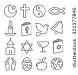 religion line icons   Shutterstock .eps vector #321377840
