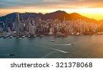 skyline of hong kong at sunset... | Shutterstock . vector #321378068