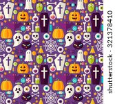 purple halloween party seamless ... | Shutterstock .eps vector #321378410