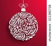 Holidays greeting card with abstract doodle Christmas ball. Merry christmas - stock photo