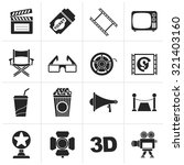 black cinema and movie icons ... | Shutterstock .eps vector #321403160