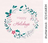 happy holidays greeting card.... | Shutterstock . vector #321416834