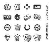 Gambling Icons Set.  Card And...