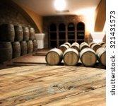 Blurred Interior Barrels Wine Table - Fine Art prints