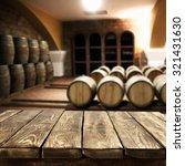 Blurred Interior Barrels Wine Brown - Fine Art prints