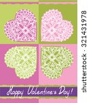 valentines day card  with lacy... | Shutterstock .eps vector #321431978
