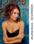 beauty portrait. curly hair.... | Shutterstock . vector #321440024
