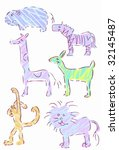 crayon animal set | Shutterstock .eps vector #32145487