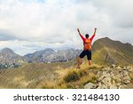 hiking man and success in... | Shutterstock . vector #321484130