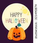 cute halloween vector pumpkin | Shutterstock .eps vector #321490874