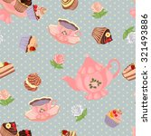 seamless pattern with teapot ... | Shutterstock .eps vector #321493886