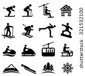 ski  snow and winter icon set   Shutterstock .eps vector #321532100