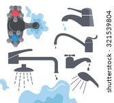 Set Of Flat Water Faucets And...