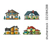 residential houses icons in... | Shutterstock .eps vector #321584288
