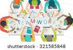 concept of  working  in... | Shutterstock .eps vector #321585848