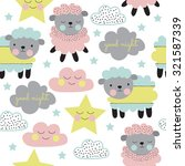 Stock vector seamless pastel sheep with cloud and star pattern vector illustration 321587339