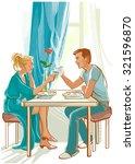 happy couple has breakfast in... | Shutterstock .eps vector #321596870