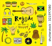 reggae music icons collection  | Shutterstock .eps vector #321597080