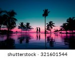 silhouettes of young couple at... | Shutterstock . vector #321601544