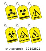 six yellow warning labels | Shutterstock .eps vector #32162821
