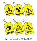 six yellow warning labels | Shutterstock .eps vector #32162821