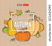 autumn vector hand drawing... | Shutterstock .eps vector #321634394